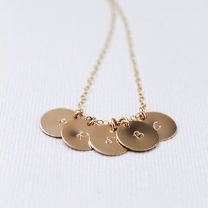 Jewelry - Personalized Initials Necklace, 5 Discs.